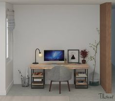 Cute and totally chic office spaec with grey desk chair and super modern touches, including the squared, light wooden desk. By 'TIL the end studio
