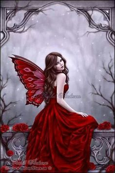 Woman with red butterfly wings :)