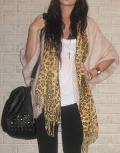 oversized cardigan outfit with scarf - Google Search