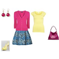 """Bright Winter - purpur, yellow, blue"" by adriana-cizikova on Polyvore"