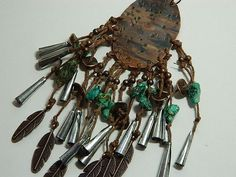 Talisman amulet necklace fringe turquoise feathers copper mixed media necklace Native American