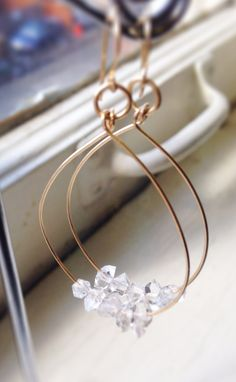 Herkimer Diamond  Quartz Hoop Earrings April