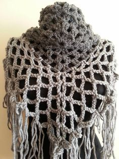 Hand Crochet shawl Gray mohair shawl Gray Bridal by pompomhats