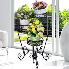 Aliexpress.com: Comprar Metal puesto de flores, soporte de hierro forjado, metal soporte de la planta para el hogar y jardín JX141304 de soporte de primavera fiable proveedores en Open Cart