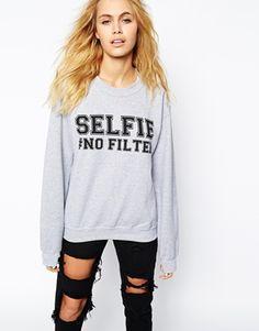 Adolescent Clothing Boyfriend Crew Neck Sweatshirt With Selfie No Filter Print