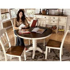 Signature Design by Ashley Whitesburg Two-Tone Round Table with Pedestal Base - AHFA - Kitchen Table Dealer Locator