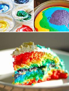 raimbow cake - my kids love doing this...works well for cupcakes too.