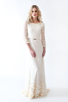 Lace Boho Vintage Wedding Dress with Sleeves Open by AnyaDionne, $1450.00
