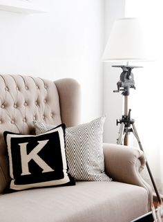 Kelly likes pillows with couch for LR. (Initial pillow- great choice in initial as well! Who loves this pillow and wants one in their own initial? Monogram Pillows, Initial Pillow, Letter Pillow, Chevron Pillow, Initial Cushions, Initial Art, Chevron Monogram, Letter Monogram, Monogram Gifts