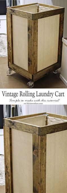 Vintage Rolling Laundry Cart is easy to make & adds charm to your laundry space. Functional & practical project to make laundry day easier! via @KleinworthCo