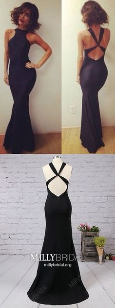 Long Prom Dresses For Teenagers,Sexy Formal Evening Dresses Black,Modest Pageant Party Dresses Mermaid,Silk-like Satin Military Ball Dresses Backless #MillyBridal #blackdress #partydresses