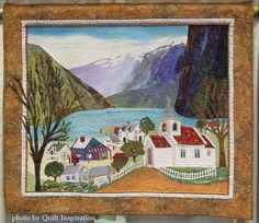 """Summer in Norway, 36 x 40"""", by Charlene Dakin (California).  2015 Pacific International Quilt Festival - photo by Quilt Inspiration."""