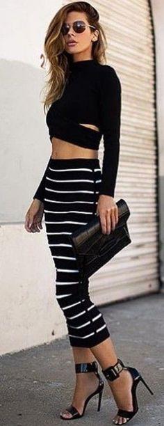 #summer #chic #feminine #style | Black and White + Stripes