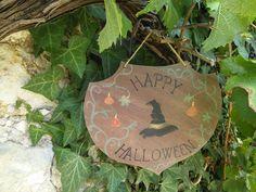 Plaque de porte, décoration intérieur 'Happy Halloween'//Chapeau de sorcière et…