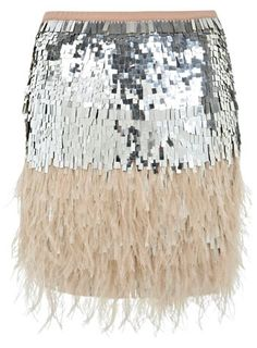 SO FUN! Perfect for NYE!!! Feather Sequin Skirt