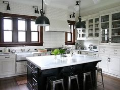 The kitchen is the soul of a home. Have you had a dream kitchen? Here we categorize some white kitchen design ideas. This will bring energy to your kitchen White Kitchen Cabinets, Kitchen Cabinet Design, Kitchen Tiles, New Kitchen, Kitchen Dining, Kitchen Decor, Kitchen Black, Black Cabinets, French Kitchen