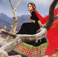 #afghan #style #black #red dress