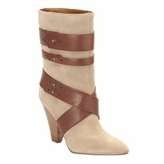 "I want this boot.  Pointy toe bootie with wrap around belt detail.  Cone shaped 4"" heel.  Pull on bootie.  Leather upper"