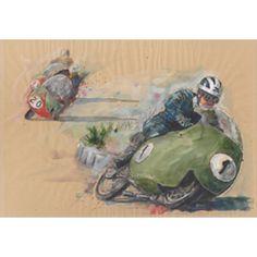 Guzzi 8-cilindri Bill Lomas, watercolor, by Karl Heinz Weiner (born 1958)