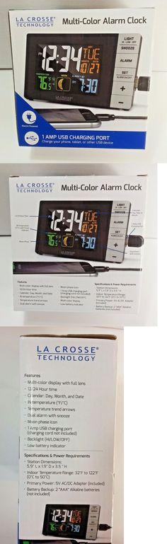 Alarm Clocks 79643: La Crosse Multi-Color Alarm Clock Indoor Temp 1 Amp Usb Charging Port W88723 -> BUY IT NOW ONLY: $35 on eBay!