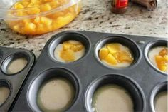 Mini Peach Cobbler Recipe:  Preheat oven to 350˚F.  Ingredients:   1 cup sugar 1 cup flour 2 tsp baking powder a dash of salt 3/4 cup milk 1 stick of melted butter brown sugar cinnamon 1 can diced peaches  Directions:  Put 1 tsp of melted butter into each regular size muffin tin.   Combine the first 5 ingredients by hand… sugar, flour, baking powder, salt and milk.  Put 2 tbsp of batter into each regular size muffin tin… on top of the melted butter.  Then put 1 tbsp diced peaches on top of…