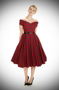 1950's style Red Tartan Fatale Prom dress at Deadly is the Female by the Pretty Dress Company