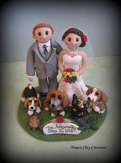 Wedding Cake Topper, Custom Cake Topper, Cat, Dog, Bride and Groom, Polymer Clay, Personalized, Custom Made Keepsake on Etsy, $215.00