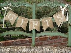 GIFTS burlap banner - Wedding Banner - Gifts Sign via Etsy Western Bridal Showers, Rustic Wedding Showers, Bridal Shower Rustic, Bridal Shower Banners, Burlap Banner Wedding, Burlap Weddings, Burlap Banners, Burlap Baby, Burlap Signs