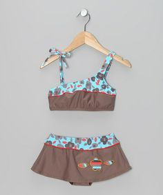 Take a look at this Turquoise & Brown Flower Skirted Bikini - Toddler & GIrls by Maxima Swimwear on #zulily today!