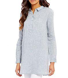 Eileen Fisher Classic Collar Henley Long Sleeve Linen Tunic #Dillards