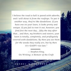 "Read post for 6 tips to write your novel in the vibrant way your brain imagined it. - ""I believe the road to hell is paved with adverbs"" - Stephen King The Way I Feel, How To Look Pretty, Adverbs, Writing Quotes, Your Brain, When Someone, Creative Writing, Vibrant, Novels"