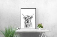 Highland Cow Print, Cow Drawing, Cow Illustration, Cow Art, Cow Wall Art, Giclee Print, Scottish Cow, Long Haired Cow, Cow Picture