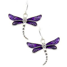 """Silver tone and purple dragonfly earrings. 1 1/2"""" drop."""