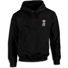 Tessa Brooks Rose Hoodie ($40) ❤ liked on Polyvore featuring tops, hoodies, sweatshirt hoodies, hooded sweatshirt, rose tops, rosette top and hooded pullover