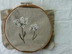 wild carrot   free-hand embroidery on natural linen.   melissa wastney   Flickr