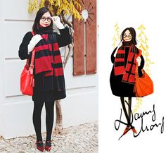Nancy Zhang - Jimmy Fairly Glasses, Coach Bag - My new Glasses. Law School Fashion, Fashion Art, Girl Fashion, Fashion Styles, Girly Drawings, Live Model, New Glasses, Lingerie, Character Illustration