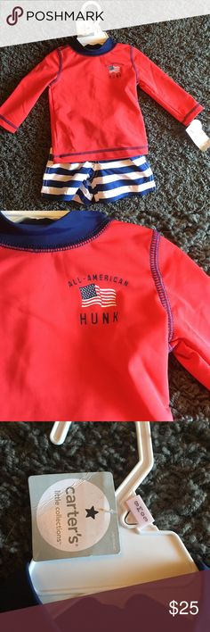 """Carter's Baby boy """"All American Hunk"""" swimsuit """"All American Hunk"""" red long sleeved nylon swim shirt and blue and white striped polyester swim shorts. Brand: Carter's Size: 9 months Carter's Swim"""