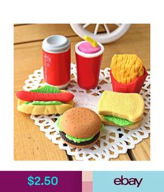 Other Writing Items Funny Hamburger Fries Hot Dogs Coke Cans Small Cake Sandwiches Erasers 7Pcs/Set #ebay #Collectibles