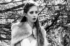 Winter bride. Laure de Sagazan Ruiz. Faux Fur Cape by Blanche in the Brambles - Floriana. Earrings by Diana Porter.