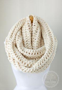 Oversized infinity scarf, oversized chunky eternity scarf in Off White/Vanilla, crochet circle scarves, unisex scarves