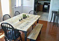 Mesa y banqueta restauradas con madera de palets!!!