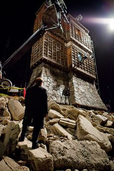 Christopher Nolan on set of INCEPTION