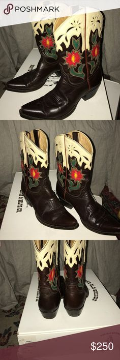 """Old Gringo pieced leather embroidered cowboy boots Old Gringo pieced leather cowboy boots in super condition. Made in Mexico. Dark brown leather with red green and cream embroidered on leather. 10"""" shank with 1 1/2"""" stacked heel. Fully leather lined. Old Gringo Shoes"""