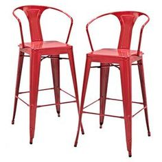"""Steel bar stool in red.   Product: Bar stoolConstruction Material: SteelColor: RedDimensions: 44.1"""" H x 20.3"""" W x 22.5"""" D"""