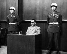 1946, Nuremburg Germany, Hermann Goering on trial for war crimes.