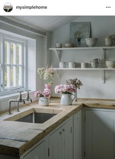 Our Cozy Reclaimed Wood Kitchen Countertops - # Cozy # Kitchen . - Our Cozy Reclaimed Wood Kitchen Countertops – # cozy # Kitchen countertops - Rustic Kitchen Design, Farmhouse Kitchen Decor, Kitchen Country, Farmhouse Style, Modern Farmhouse, Farm Kitchen Ideas, Country Kitchen Decorating, Country Kitchen Designs, Cottage Kitchen Interior