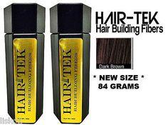 HAIR-TEK Hair Building Fibers,2_ 84gms_Dk Brown *NEW SIZE * Hair Loss Concealer