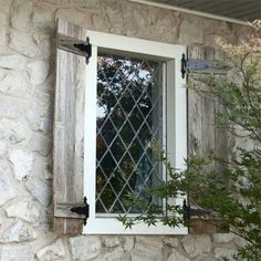 Hinges and shutters! This Old House - board & batten shutters created out of old fence panel with added strap hinges, then stained and sealed. Window Shutters Exterior, House Shutters, Wood Shutters, Outdoor Shutters, Old Fence Boards, Board And Batten Shutters, Old Fences, Dog Fence, Fence Art