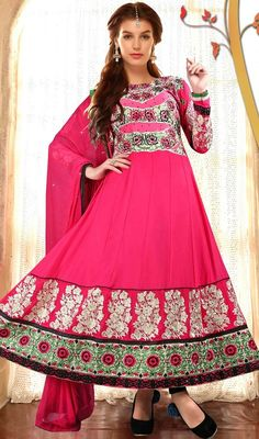 Spruce up your wardrobe with this pink color embroidered georgette Anarkali churidar suit. The lovely stones, lace and resham work a substantial element of this dress. #pinkcoloranarkali #embroideredanarkalisuits #newdesignanarkali2015