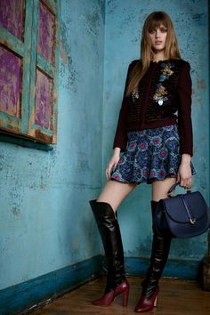 Apres Mohair Embroidered Panel Jacket and Ankone Tailoring Wave Hem Mini Skirt. Boots by Bionda Castana. From the Matthew Williamson Pre Fall 2015 collection.